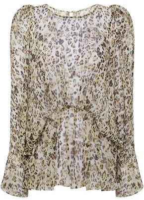 IRO Gathered Leopard-print Silk-georgette Blouse