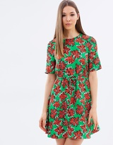Warehouse Woodblock Daisy Flippy Dress
