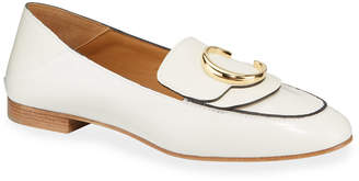 Chloé C Flat Leather Logo Fold-Down Loafers