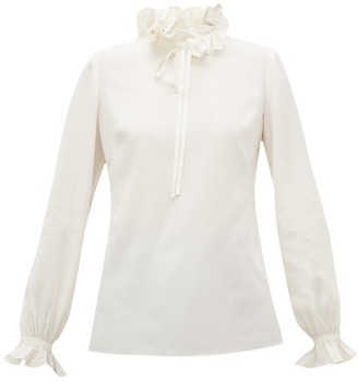 Goat Irving Ruffle-collar Silk Crepe De Chine Blouse - Womens - Ivory