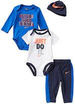 Nike Baby Boys Newborn-6 Months Long-Sleeve Bodysuit, Short-Sleeve Bodysuit, Pants, and Hat Set