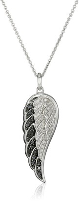 """Amazon Collection Sterling Silver Black and White Diamond Angel Wing Pendant Necklace (1/5 cttw) 18"""""""