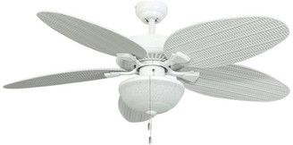 "Prominence Home 52"" Seagrove White Outdoor Ceiling Fan with Wet-Rated Globe Light"
