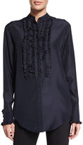 Nina Ricci Ruffled-Bib Long-Sleeve Blouse, Dark Navy