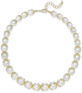 Charter Club Imitation Pearl and Crystal Collar Necklace, Only at Macy's