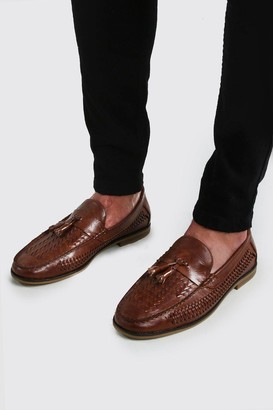 boohoo Mens Brown Faux Leather Woven Loafer, Brown