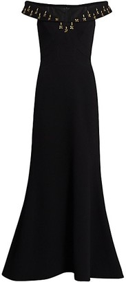 Zac Posen Off-The-Shoulder Embellished Crepe Gown