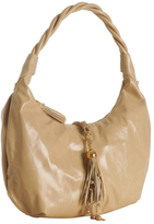 beige leather 'Neela' tassel hobo