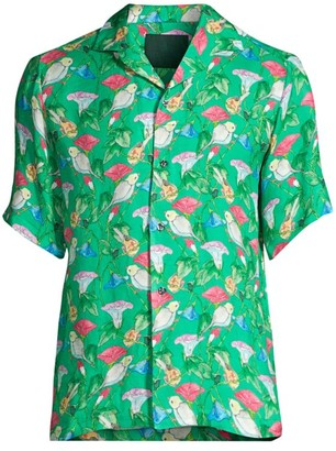 Roi Du Lac Birds Seafoam Silk Short-Sleeve Shirt