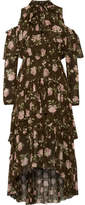 Ulla Johnson Marion Cold-shoulder Floral-print Crinkled Silk-chiffon Dress - Army green
