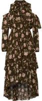 Ulla Johnson Marion Cold-shoulder Floral-print Crinkled Silk-chiffon Dress - Army green