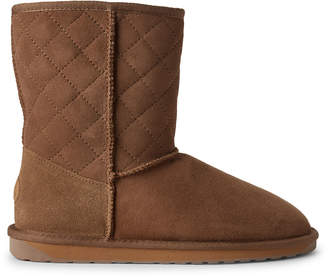 Emu Chestnut Stinger Lo Quilted Shearling-Lined Suede Boots