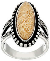 American West Sterling Silver Fossilized Coral Ring
