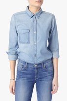 7 For All Mankind Rip Off Shadow Pocket Denim Shirt Skybreeze Blue