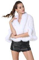 MEEFUR Bafei Women's Natural Mink Fur Knitted Cappa Cloak Cape with Fox Fur Collar