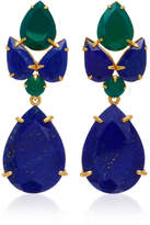"Bounkit 14K Gold Plated Brass"" Lapis and Green Onyx Earrings"