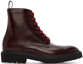 Paul Smith Burgundy Farley Lace-Up Boots