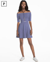 White House Black Market Petite Off-the-Shoulder Striped Sneaker Dress