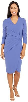 Tahari ASL Mock Neck Stretch Knit Elbow Sleeve Side Wrap Dress (Periwinkle) Women's Dress
