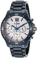A Line a_line Women's AL-20042-NBWSR Ceramic Chronograph White Dial Dark Blue Watch