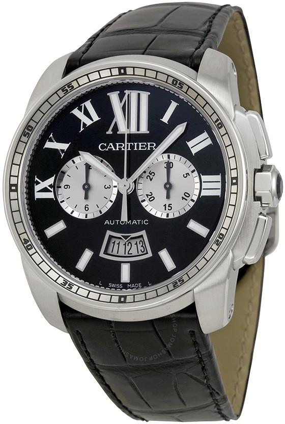 Cartier Calibre De Black Dial Black Leather Men's Watch