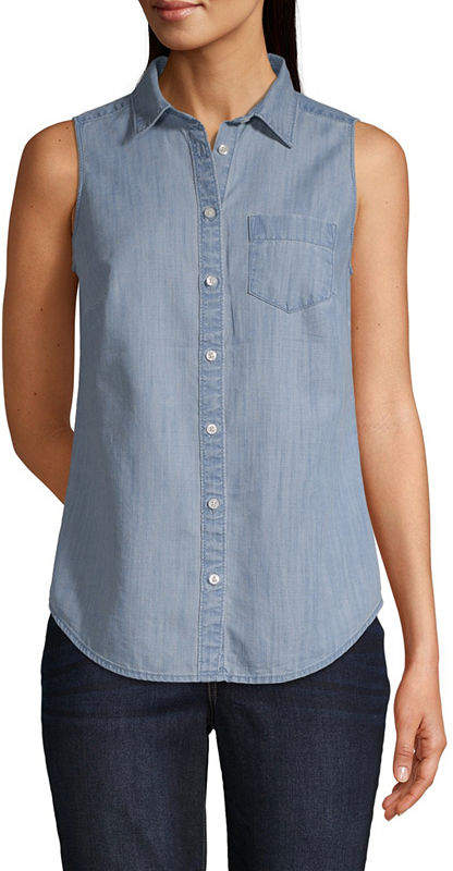 181432634ecc Sleeveless Denim Shirt - ShopStyle