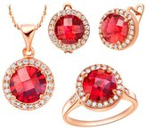 Babao Jewelry Jewelry Sets Babao Jewelry Luxurious Red Round 18K Rose Gold Plated Cubic Zirconia Crystals Pendant Necklace Earrings Set Ring Size 6