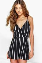 boohoo Cora Wide Stripe Wrap Front Playsuit
