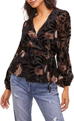 ASTR the Label Velvet Burnout Wrap Top