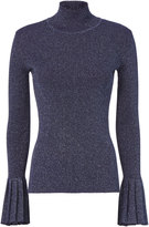 Carven Lurex Pleated Navy Turtleneck