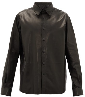 The Row Dale Leather Shirt - Black