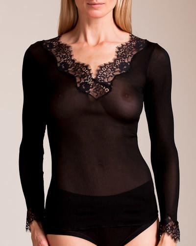 Dana Pisarra Lione Ribbed Silk Long Sleeve Top