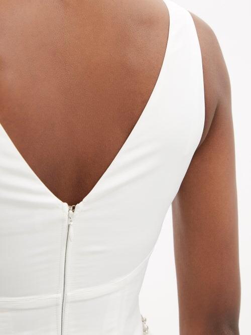 Thumbnail for your product : Self-Portrait Faux-pearl Embellished Taffeta Midi Dress - White