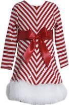 Bonnie Jean Girls Sequins Striped Holiday Christmas Santa Dress