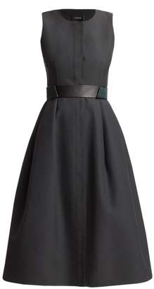 Akris Sleeveless Shirtdress with Horsehair Belt