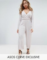 Asos Plisse Jumpsuit with Wrap Front And Long Sleeve