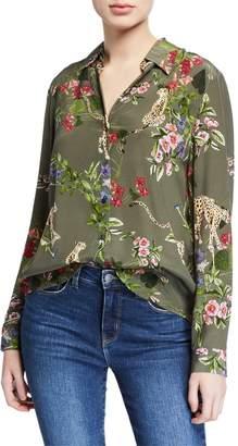 L'Agence Nina Long-Sleeve Cheetah & Floral Silk Blouse