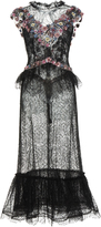 Rodarte Glittered Chantilly Lace Dress