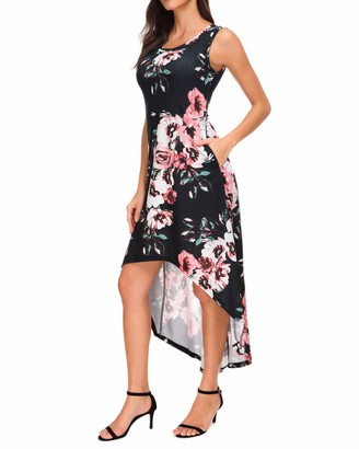 MINTLIMIT Women's Sleeveless Floral Print Tank Dress Party Bohemian Long Maxi Dresses(Floral Black Size XXL)