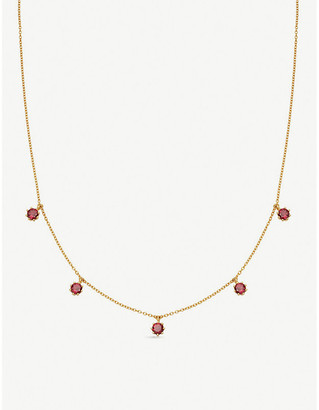Astley Clarke Mini Linia rhodolite and 18ct gold-plated sterling silver choker necklace