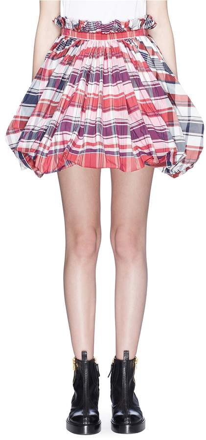 Alexander McQueen Ruched check plaid balloon skirt