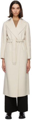 S Max Mara Off-White Wool Poldo Wrap Coat