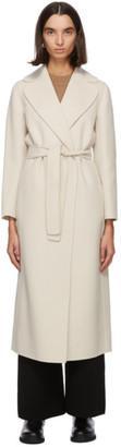 S Max Mara Off-White Wool Poldo Wrap Coat