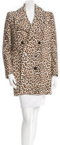 Carven Leopard Print Double-Breasted Coat