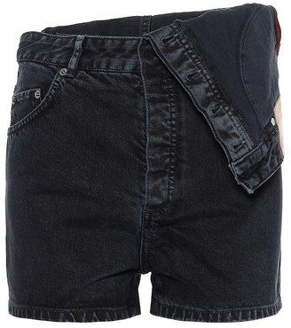 Y/Project Asymmetric high-rise denim shorts