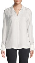 Calvin Klein Spread Collar Long-Sleeve Top