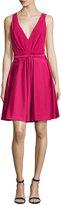 J. Mendel V-Neck Fit-&-Flare Dress, Fuchsia