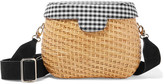 Edie Parker Jane Gingham Canvas-paneled And Wicker Shoulder Bag - Neutral