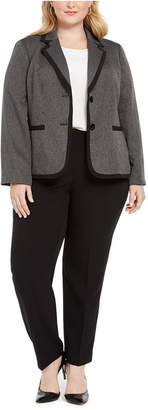 Le Suit Plus Size Two-Button Contrast-Trim Pantsuit