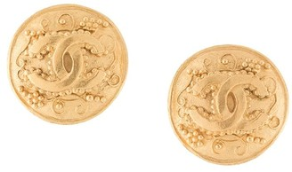 Chanel Pre Owned 1996 CC button clip-on earrings